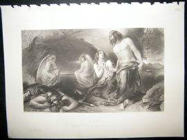 Religious 1853 Steel Engraving, The Sepulchre, Angels